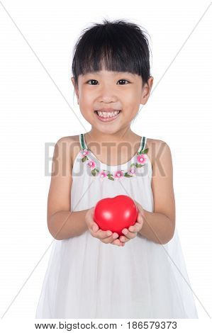 Asian Little Chinese Girl Holding Red Heart