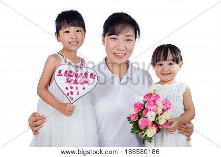 Asian Little Chinese Girls Celebrating Mother's Day With Mom