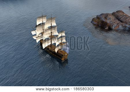 Pirate sail ship on shallow and clear water, 3d rendering