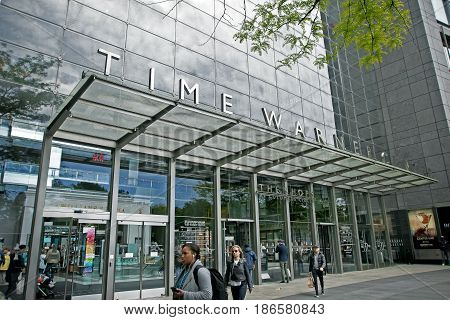New York May 08 2017: People walk outside the front entrance to the Time Warner Center at Columbus Circle in Manhattan.