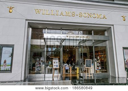 New York May 08 2017: The front of a Williams-Sonoma store in Time Warner Center.