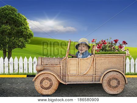 small child on a toy car looking at the field