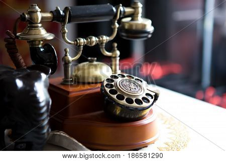 Black gold antique vintage telephone abstract of communication