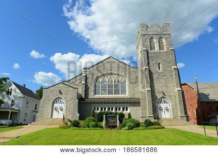 Grace United Methodist Church in downtown St. Johnsbury, Vermont, USA.