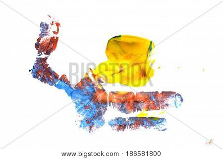 Yellow blue and red imprint of a child's hand gouache. Children's creativity.
