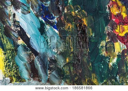 Colorful abstract background with oil paints. Large brush strokes. Riot of colors. Color transitions. Impressionism. Design Elements