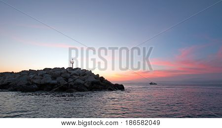 Sunrise over Jetty for the Puerto San Jose Del Cabo harbor / marina in Baja Mexico BCS