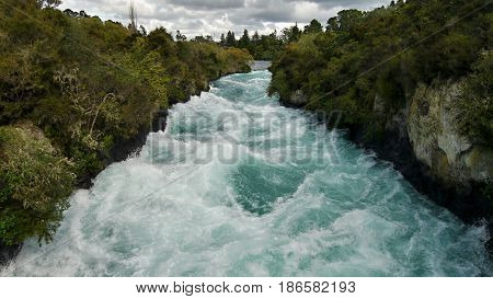Waterfall Huka Falls. New Zealand, North Island