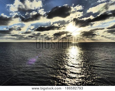 Lost at Sea at Sunset on Pacific Ocean along Mexican Riviera