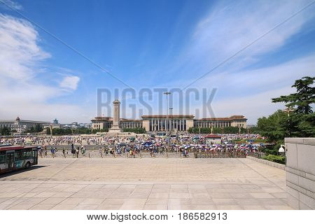 Beijing China - August 06, 2014: View on Tiananmen Square and The Great Hall of the People in Beijing. Tourists visits Tiananmen Square