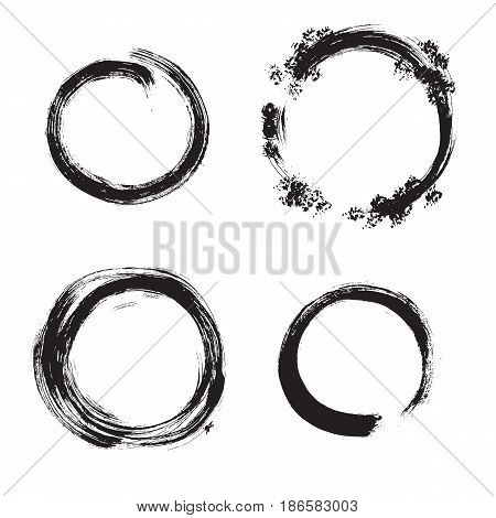 Vector grunge round frames. Hand drawn isolated collection.
