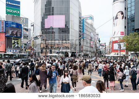 Tokyo, Japan - Arpil 18, 2017: Unidentified People On The Street In Shibuya, Tokyo. Shibuya Is One O