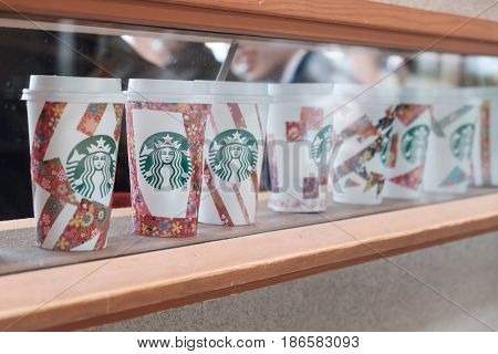 Tokyo, Japan - April 14, 2017: Cup Of Cherry Blossoms Starbucks Coffee Shop At Ueno Park In Tokyo, J