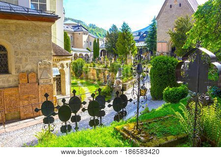 Salzburg, Austria - May 01, 2017: The St. Peter's Cemetery has kept its present form since 1627 at Salzburg, Austria on May 01, 2017