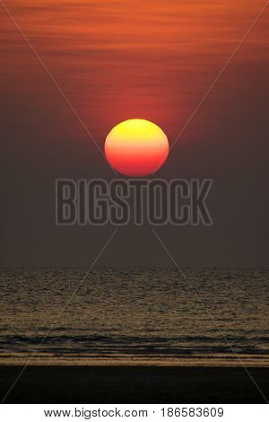 Scenic view of beautiful sunset on the sea.