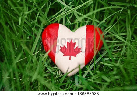 Macro closeup shot of wooden small heart with red white canadian flag maple leaf lying in grass on green forest nature background outside Canada day celebration