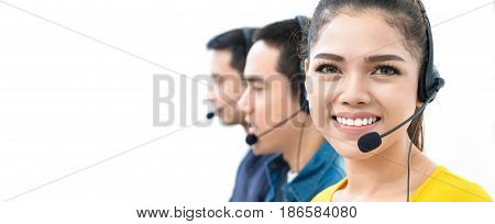 Asian call center team panoramic banner with copy space