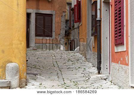 Street view in the old city Labin in Istria Croatia.