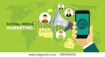 social media marketing concept poster digital design social network and media communication vector illustration
