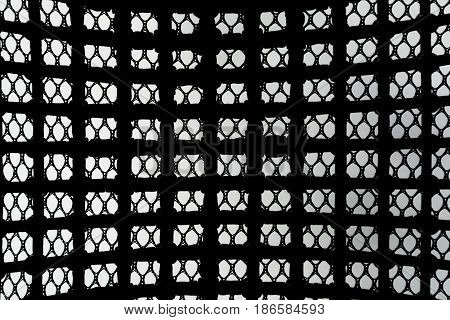 Black Patterned Net Tile Texture On White