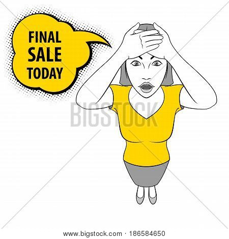 Illustration of a Young Woman holds on to Her Head. Final Sale Today