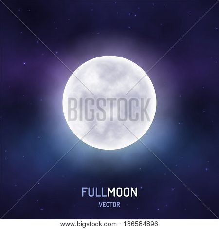 Full moon in the night starry sky. Realistic background. Vector illustration.