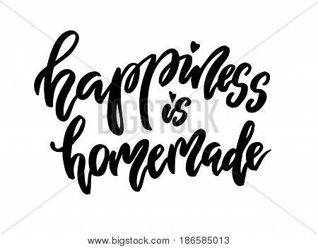 Happiness is homemade lettering. Family photography overlay. Baby photo album element. Hand drawn yellownursery design. handwritten brush pen calligraphy isolated. Vector illustration stock vector.