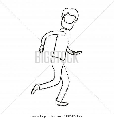 blurred silhouette cartoon faceless full body man with beard and moustache running vector illustration
