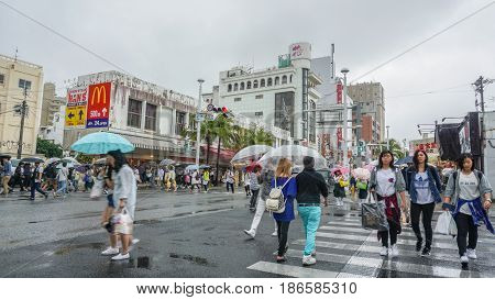 OKINAWA JAPAN - April 22 2017: Kokusai dori the main street in Naha City Okinawa