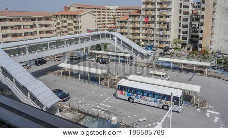 OKINAWA JAPAN - April 19 2017: Bus terminal in Naha city Okinawa Japan .