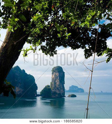 Blue Seascape Idyllic Island