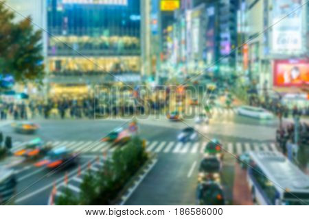 Abstract blur background of Shibuya Crossing .