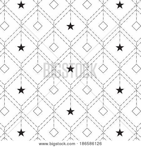 linear diamond shape with star and diamond hanging inside pattern background vector illustration image