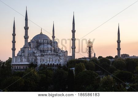 Landscape photo of Istanbul's iconic Blue Mosque at Sunset