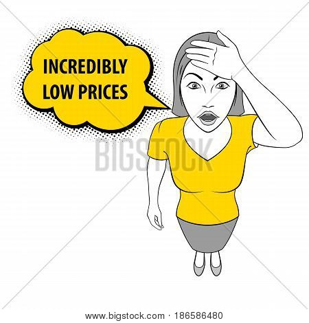 Illustration of a Woman holds on to Her Head. Incredibly Low Prices