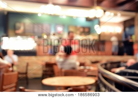 Blurred image of cafe interior for background