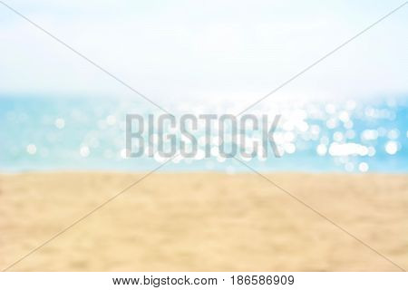 Blur sand and sea in summer for background