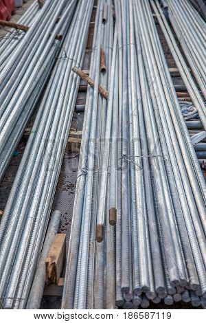 Steel Row In Construction Site