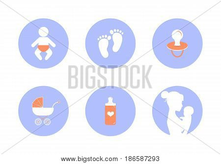 Vector icons on Maternity and child care. Graphics for applications. Caring for a newborn baby. Mother and child.