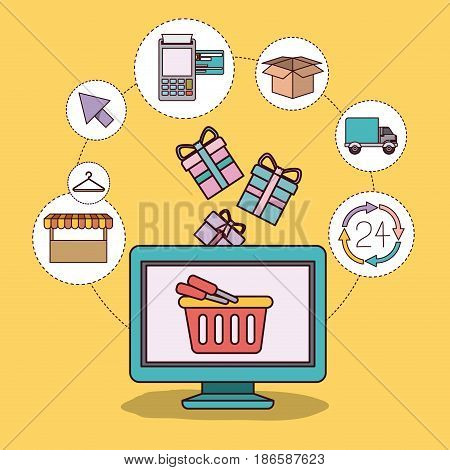 yellow background with desktop computer and online checkout