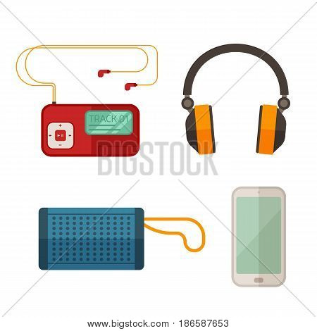 Listening to music devices set in flat design. Musical gadgets icons including headphones, player, smartphone and portative loudspeakers.