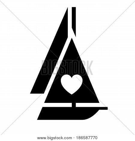 Yacht. Black icon isolated on white background