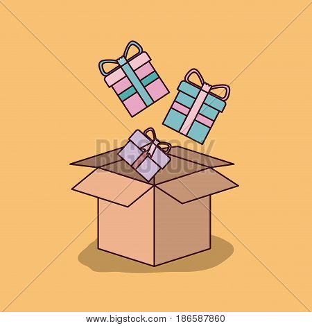 wheat color background with cardboard box and gift boxes vector illustration