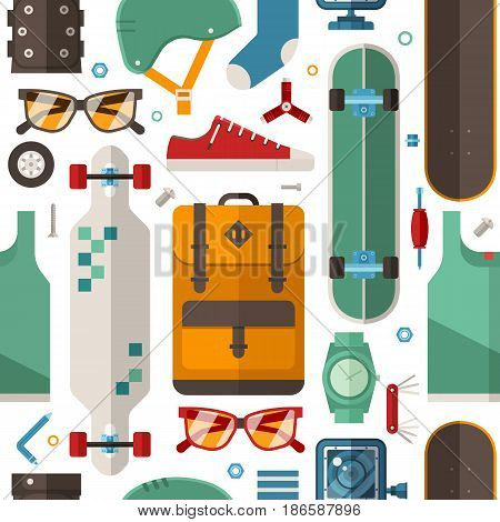 Skateboard pattern with equipment and accessories in flat design. Urban lifestyle and skateboarding seamless background with skate board gear, clothes and tools.