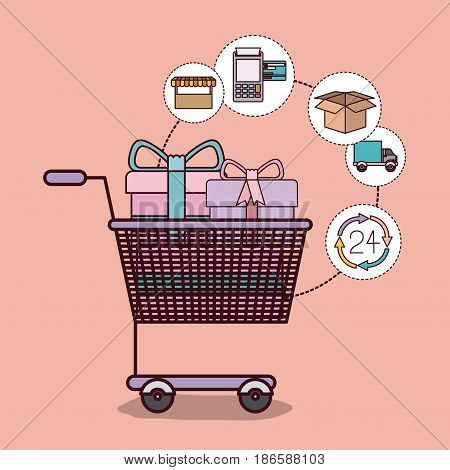light pink background with shopping cart full of gifts vector illustration