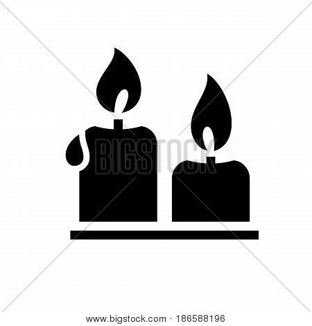 Candles. Black icon isolated on white background