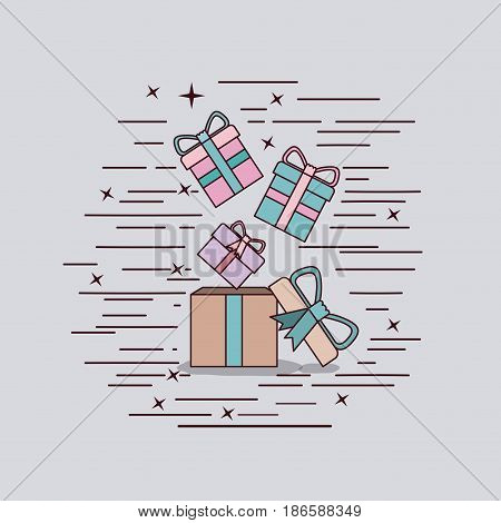 gray background with cardboard box and gift boxes vector illustration
