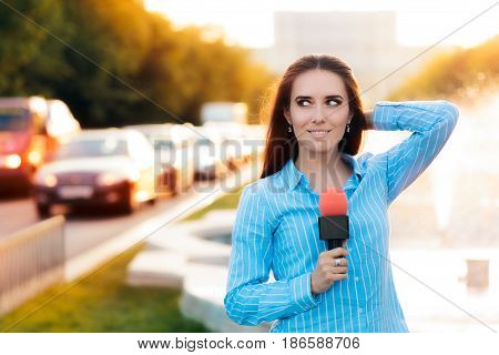 Female News Reporter on Field in Traffic