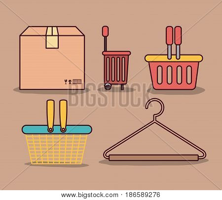 light brown color background with package and differents shopping baskets and hook closet shirt vector illustration