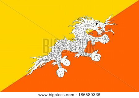 Butane national flag, divided diagonally, yellow and orange triangle, white dragon holding four jewels in its claws, symbolizes a country. Vector flat style illustration